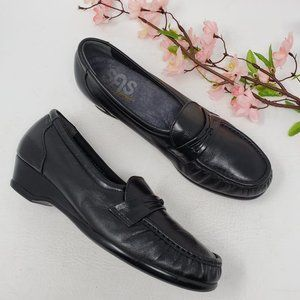 SAS Shoes Easier Black Leather Loafers 7.5 Narrow